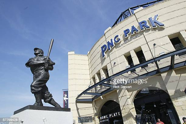 A statue of Honus Wagner in front of the entrance to the PNC Park on April 10 2006 in Pittsburgh Pennsylvania