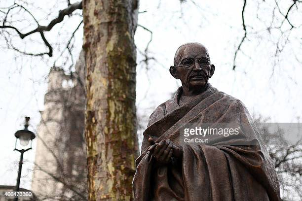 A statue of Indian independence leader Mahatma Gandhi is pictured in Parliament Square on March 16 2015 in London England The 27m bronze statue was...