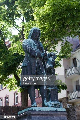 Statue of Johann Sebastian Bach outside Bachhaus Bach House Museum.