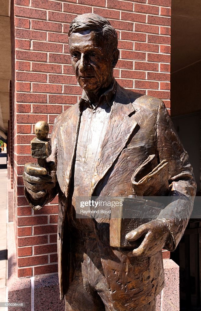 A statue of journalist Sid Hartman stands outside the Target Center home of the Minnesota Timberwolves basketball team and Minnesota Lynx WNBA...