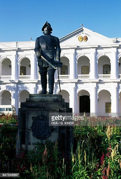 Statue of Juan de Salazar in front of the Cabildo building now Cultural Centre of the Republic of Paraguay Asuncion