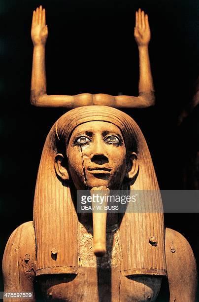 Statue of King Auib KaRaHor wood gold and semiprecious stones from Dahshur Egyptian civilisation Middle Kingdom Dynasty XIII Detail Cairo Egyptian...