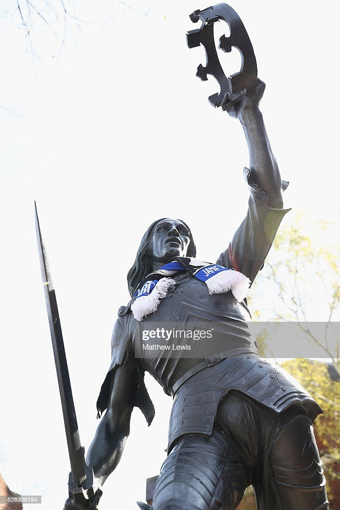 A statue of King Richard III is seen with a Leicester City FC Scarf during a Leicester Backing the Blues Campaign in support of Leicester City on April 30, 2016 in Leicester, England.