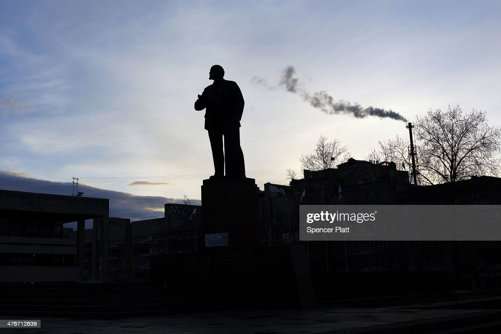 A statue of Lenin is viewed in the Crimean city of Simferopol on March 5, 2014 in Simferopol, Ukraine. As the standoff between the Russian military and Ukrainian forces continues in Ukraine's Crimean peninsula, world leaders are pushing for a diplomatic solution to the escalating situation. The United Nations reports that the poverty rate in Ukraine is now at around 25%, with a falling population in recent years due to both a low fertility rate and migration to other parts of Europe and America.