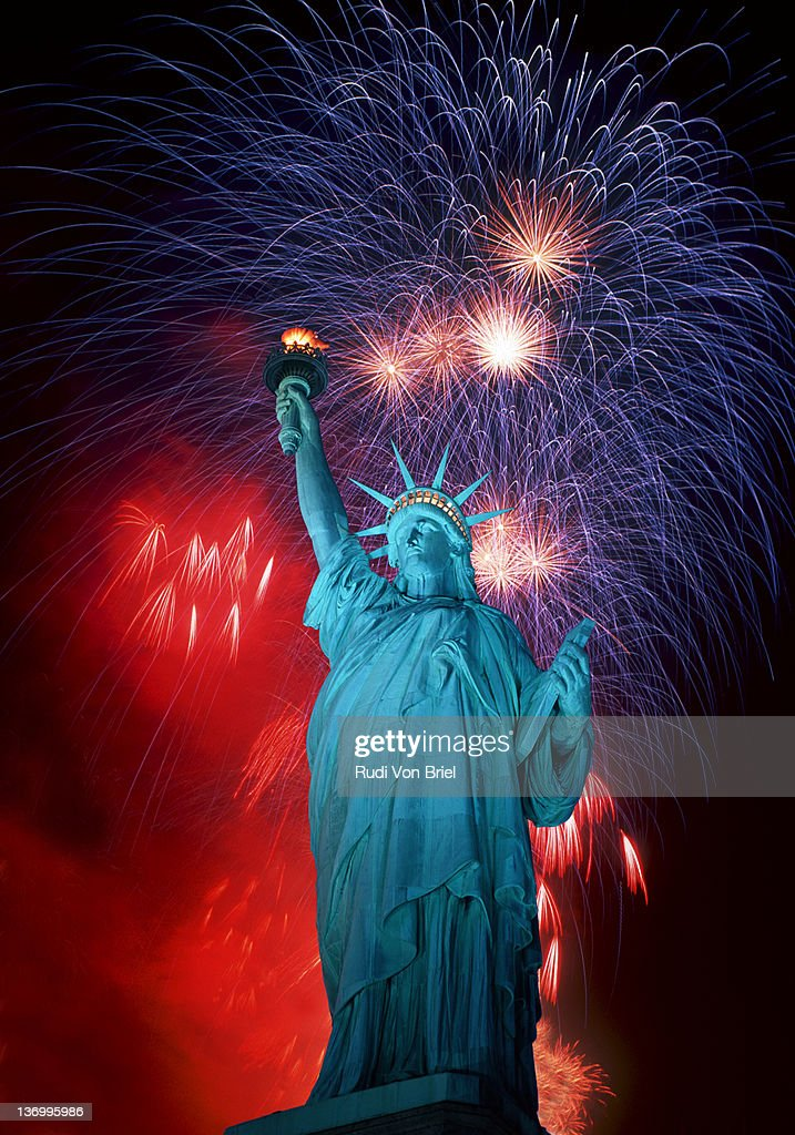 Statue of Liberty and Fireworks composit. : Stock Photo