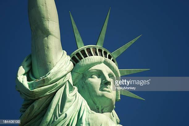 Statue of Liberty Close Up Blue Sky Horizontal