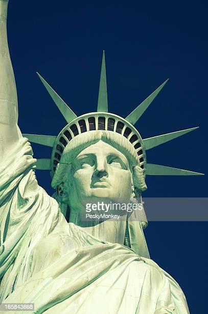 Statue of Liberty Close-Up Blue Sky Vertical
