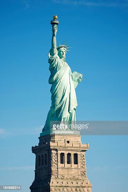 Statue of Liberty Full Length Blue Sky Sunny Day