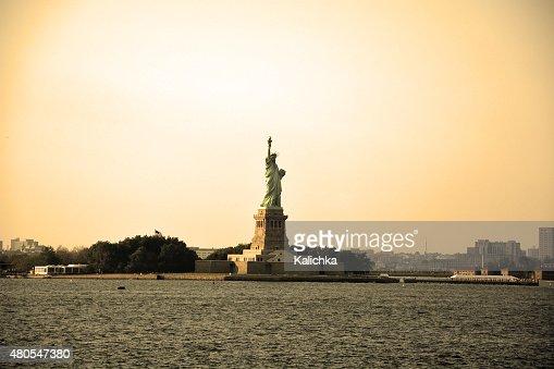 Statue of Liberty in sepia tone. NY city, America : Stock Photo