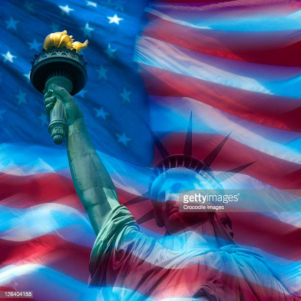 Statue of liberty superimposed on American flag, New York City, New York State, USA