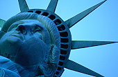 Statue of Liberty with a viewing platform in her crown., New York City, New York, United States of America, North America