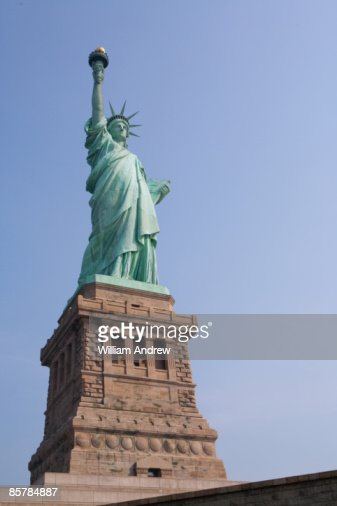 Statue of Liberty with clear blue sky, low angle
