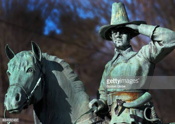 A statue of Lieut Lewis on his horse in Walpole MA is pictured on Jan 25 2017