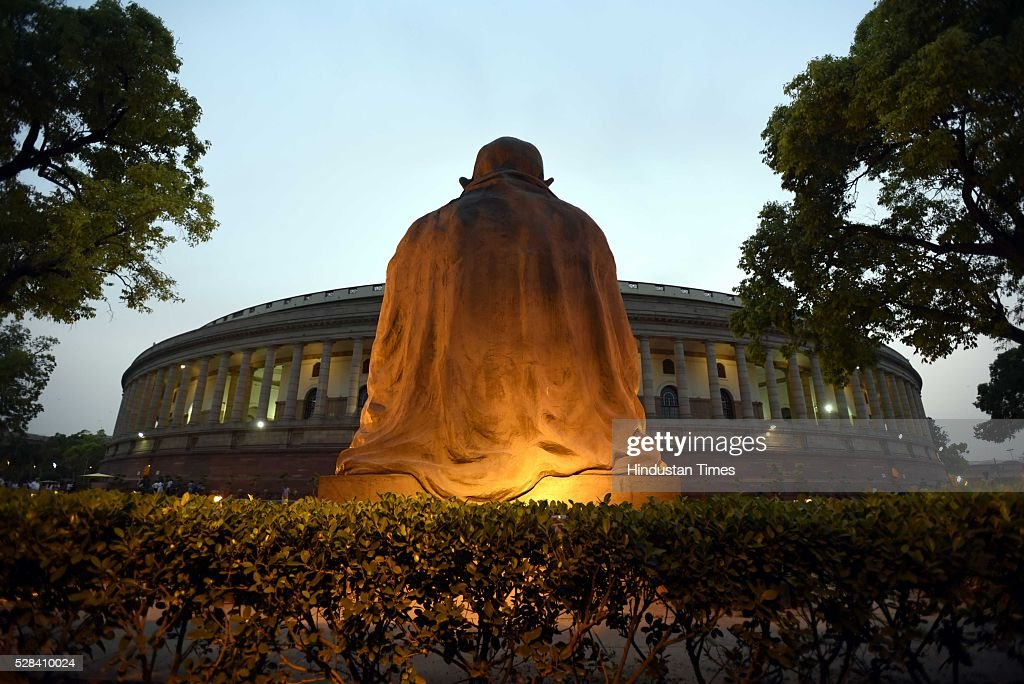 A statue of Mahatma Gandhi-the Father of the Nation during the Parliament session on May 4, 2016 in New Delhi, India. Congress walks out of the House demanding time-bound Supreme Court-monitored CBI probe on the AgustaWestland helicopter deal.