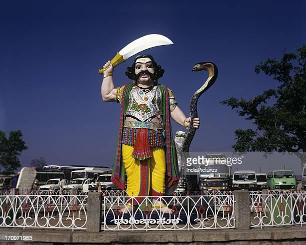 A statue of Mahishasura in Chamundi Hill Mysore Karnataka India