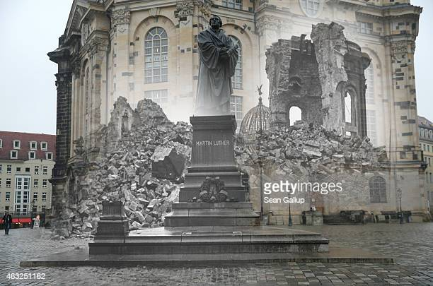 This digital composite image shows the ruins of the Frauenkirche church and the empty pedestal for a statue of Martin Luther in 1946 still wrecked...