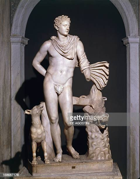 Statue of Meleager with chlamys Roman 1st century AD marble copy after Skopas' original In the Vatican Museum Sala degli Animali