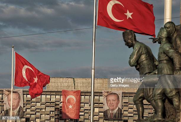 A statue of Mustafa Kemal Ataturk founder of modern Turkey with a Turkish soldier and a Turkish woman in the Independence War as part of a monument...