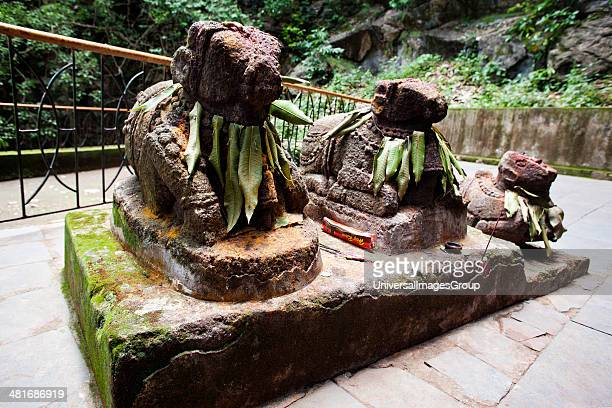 Statue of Nandi the bull Borra Caves Ananthagiri Hills Araku Valley Visakhapatnam Andhra Pradesh India