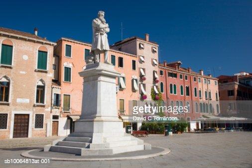 Statue of Nicolo Tommaseo in Campo Santo Stefano : Stock Photo