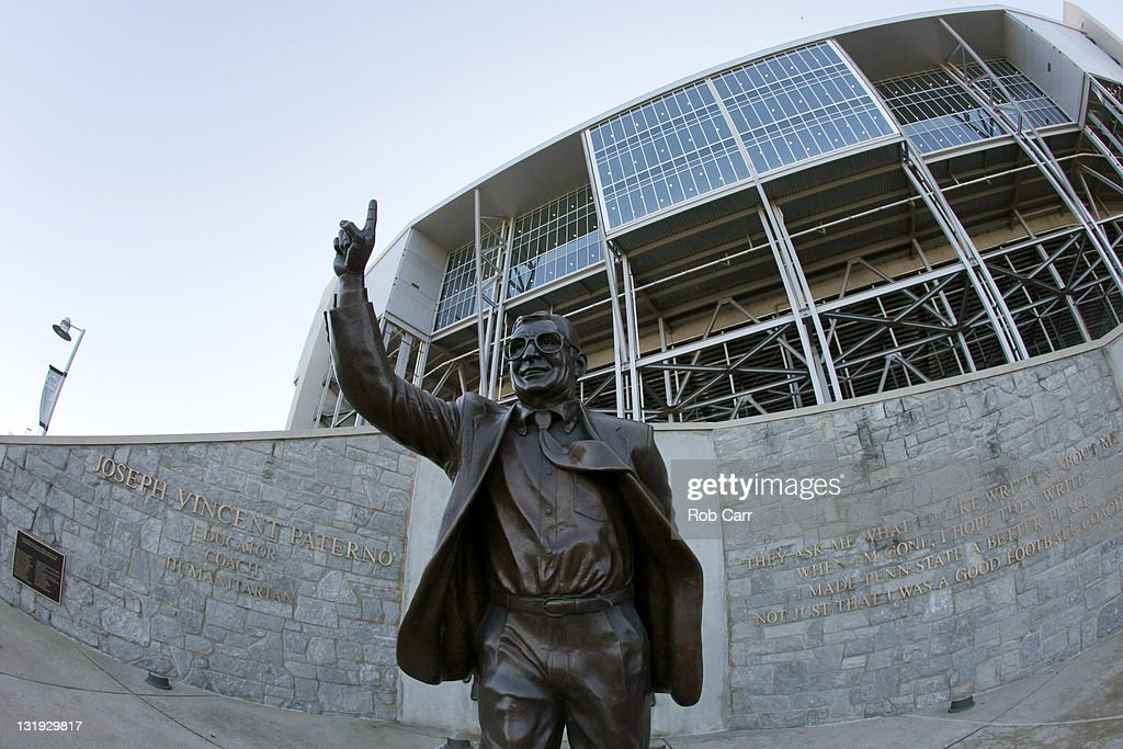 A statue of Penn State University head football coach <a gi-track='captionPersonalityLinkClicked' href=/galleries/search?phrase=Joe+Paterno&family=editorial&specificpeople=623059 ng-click='$event.stopPropagation()'>Joe Paterno</a> is seen outside of Beaver Stadium on November 8, 2011 in University Park, Pennsylvania. Amid allegations that former assistant Jerry Sandusky was involved with child sex abuse, Paterno's weekly news conference was canceled about an hour before it was scheduled to occur.