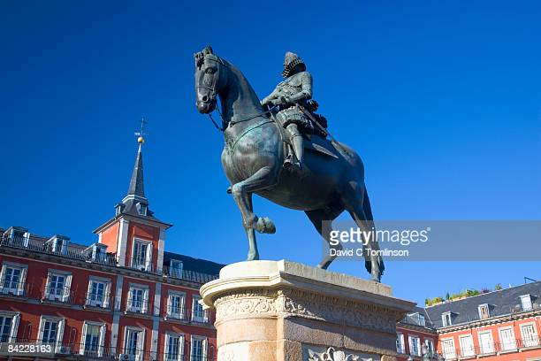 Statue of Philip III in Plaza Mayor, Madrid, Spain