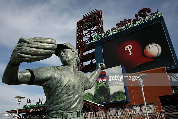 A statue of Phillies great Steve Carlton is outside of the stadium where the Philadelphia Phillies played the Atlanta Braves on April 5 2009 at...