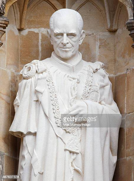 A statue of Prince Philip Duke of Edinburgh by the Great West Door of Canterbury Cathedral unveiled by Queen Elizabeth II on March 26 2015 in...