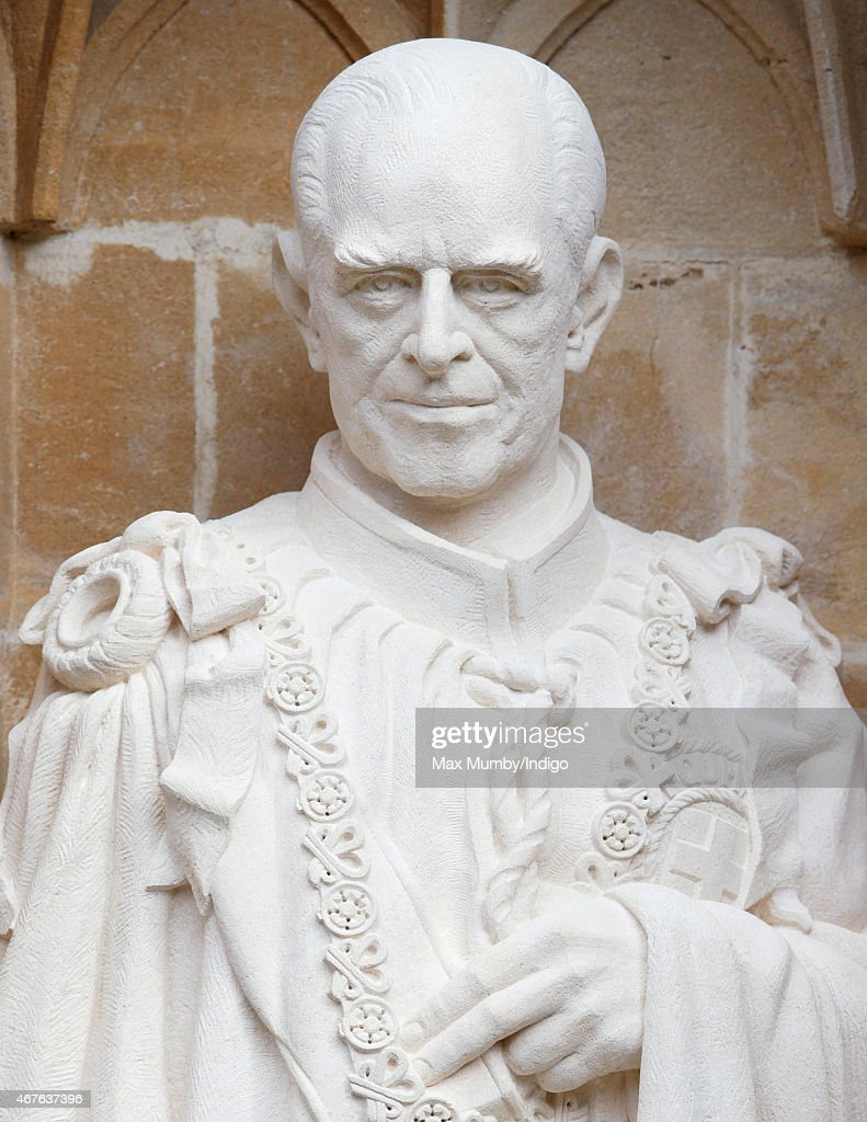 A statue of Prince Philip, Duke of Edinburgh by the Great West Door of Canterbury Cathedral unveiled by Queen Elizabeth II on March 26, 2015 in Canterbury, England.
