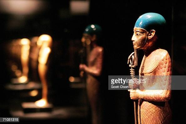 A statue of Ptah chief god of Memphis recovered from the tomb of Egypt's King Tutankhamun is displayed at the Field Museum May 25 2006 in Chicago...