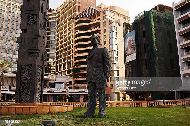 A statue of Rafic Hariri the former Prime Minister of Lebanon stands near where he was killed at the start of the summer season for the Mediterranean...