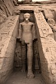 Statue of Rameses II outside the Hathor Temple of Queen Nefertari.  UNESCO World Heritage Site known as the Nubian Monuments.  Abu Simbel, West Bank of Lake Nasser, southern Egypt. Africa