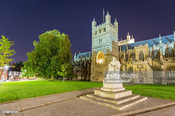 Statue of Richard Hooker and Exeter Cathedral