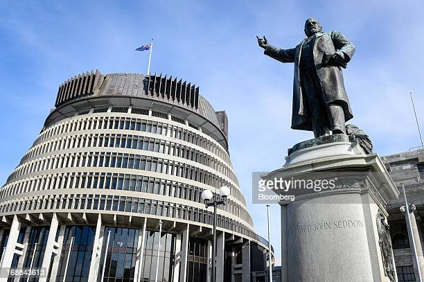 A statue of Richard John Seddon the late prime minister of New Zealand stands outside the Executive Wing of the New Zealand Parliament Building...