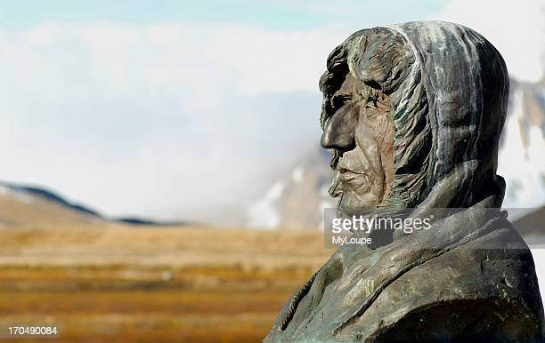 Statue of Roald Amundsen in the remote village of Ny Alesund Spitsbergen Norway Amundsen was a Norwegian explorer of polar regions He led the first...