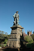 Bronze Statue on Stone Pedestal of Robert Burns (Scottish Poet 1759 - 1796) located in The Domain Sydney Australia.