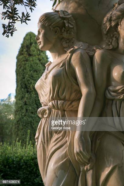 A statue of Roman goddess is located in the outdoor car valet at Caesars Palace Hotel Casino as viewed on May 29 2017 in Las Vegas Nevada Tourism in...
