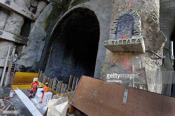 A statue of Saint Barbara the patron saint of tunnel workers is seen at the entrance to the Gotthard railway tunnel in Erstfeld Switzerland on...