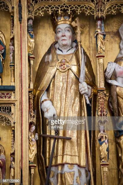 Statue of Saint Clemens patron Saint of mariners on the altar Aarhus Cathedral Aarhus Denmark