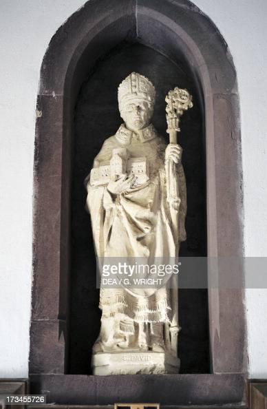 Statue of Saint David St David's Cathedral Saint David's Wales United Kingdom