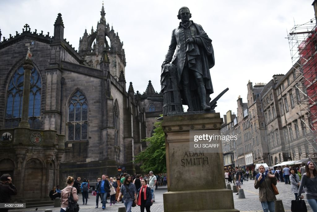 A statue of Scottish economist Adam Smith stands on the Royal Mile in Edinburgh, Scotland on June 25, 2016. Scotland wants immediate talks with the European Union on protecting its place in the bloc, after Britain's vote to leave the EU, First Minister Nicola Sturgeon said Saturday. Speaking after an emergency meeting of her cabinet, Sturgeon said it had agreed to seek 'immediate discussions with the EU institutions and other EU member states to explore all possible options to protect Scotland's place in the EU.' SCARFF