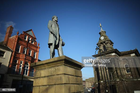 A statue of Sir Henry Doulton founder of Royal Doulton China overlooks Burslem on February 4 2015 in Burslem StokeonTrent United Kingdom The North...