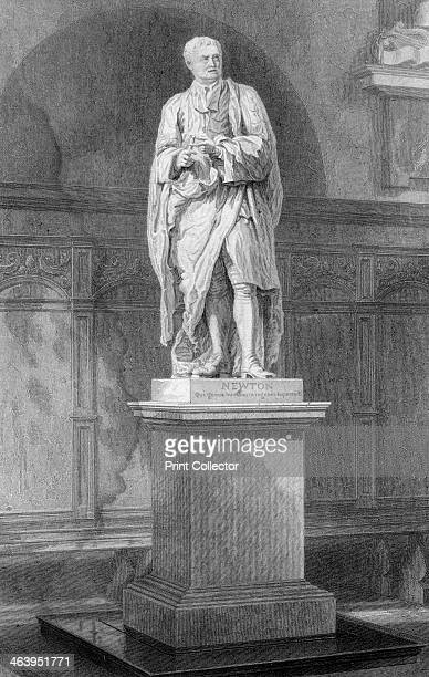 Statue of Sir Isaac Newton English mathematician astronomer and physicist 19th century Statue in the ante chapel Trinity College Cambridge Newton's...