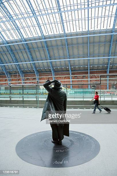 Statue of Sir John Betjeman at the St Pancras International Station in London, the new home of the Eurostar.