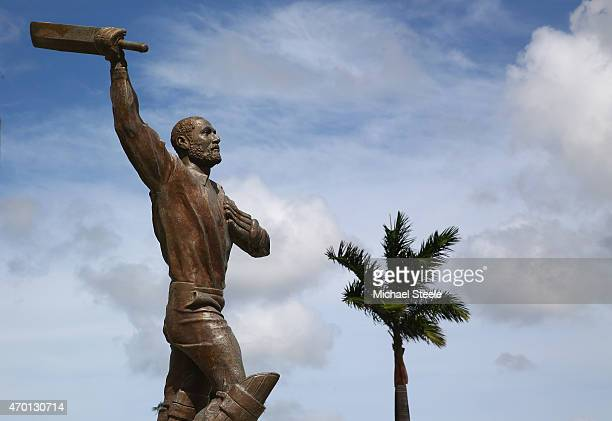 A statue of Sir Vivian Richards outside the main grandstand entrance during day five of the 1st Test match between West Indies and England at the Sir...