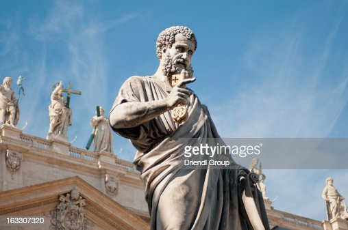 Statue of St. Peter and the Bascilica's facade
