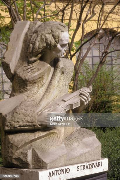 Statue of Stradivarius at International Institute of Stringed Instrument Makers in April 1990 in Cremona Italy