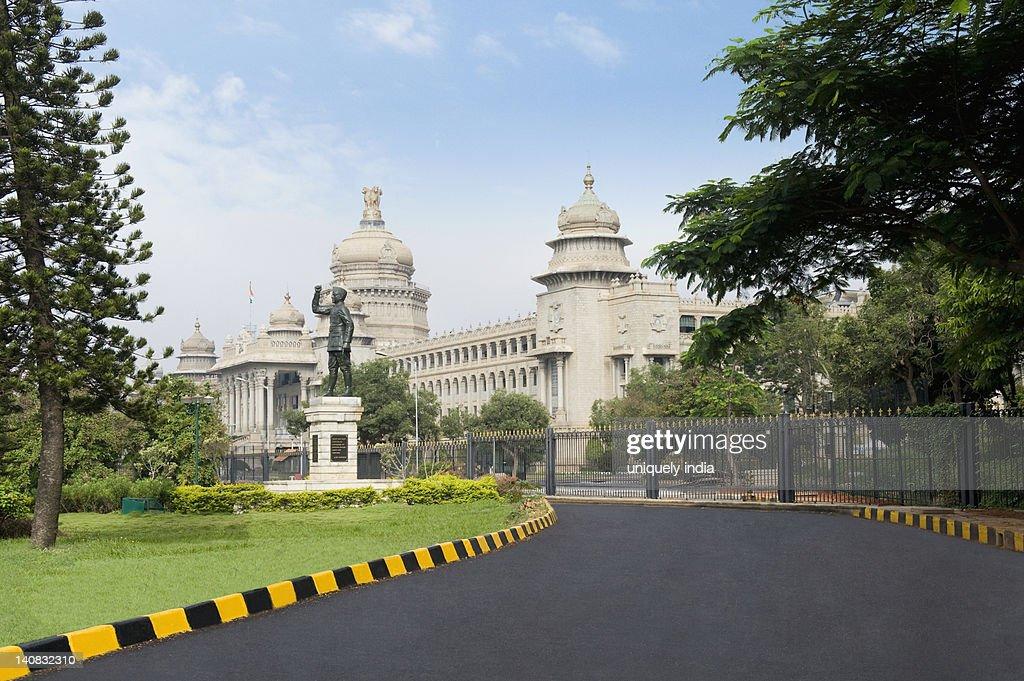 Statue of Subhas Chandra Bose in front of a government building, Vidhana Soudha, Bangalore, Karnataka, India