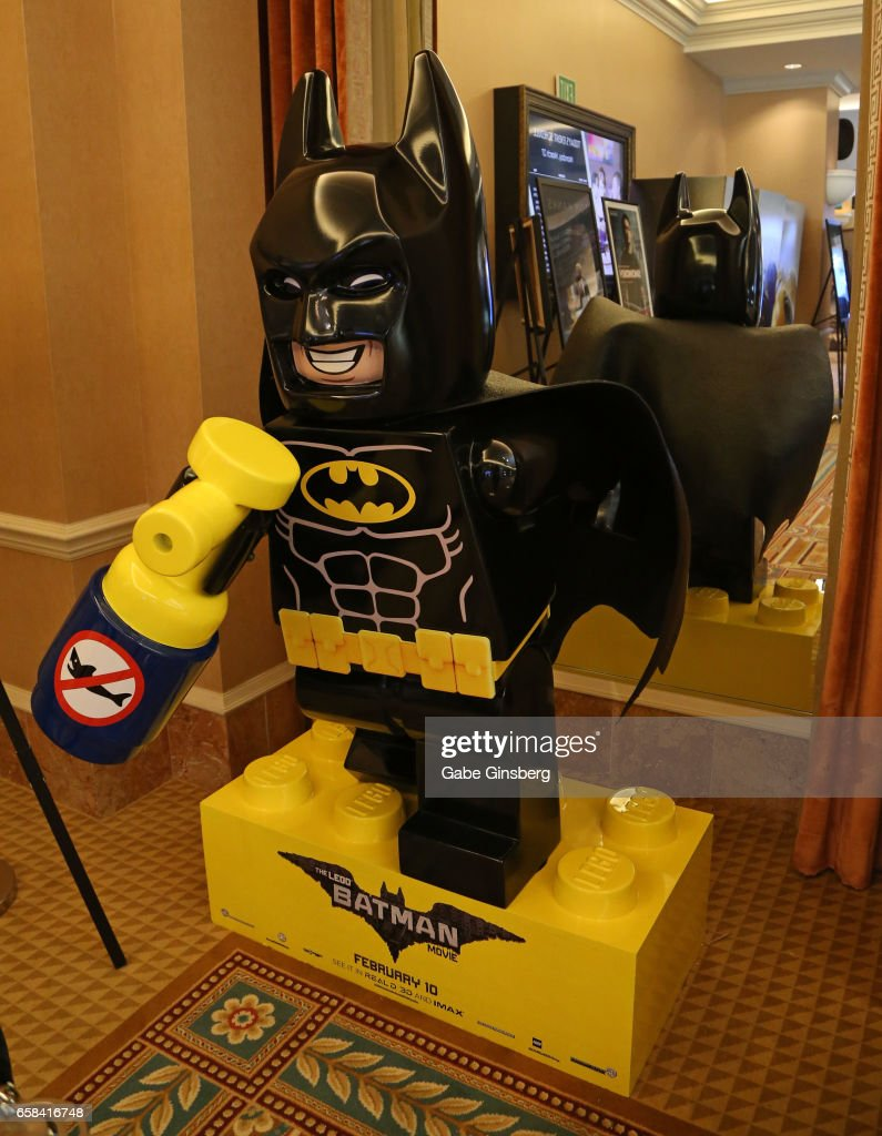 A statue of the Batman character from 'The Lego Batman Movie' is displayed for auction during CinemaCon at Caesars Palace on March 27, 2017 in Las Vegas, United States.