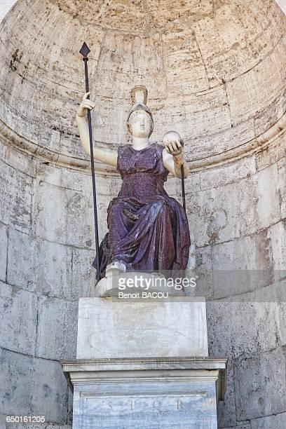 Statue of the goddess Rome, Piazza del Campidoglio, Rome, Lazio, Italy